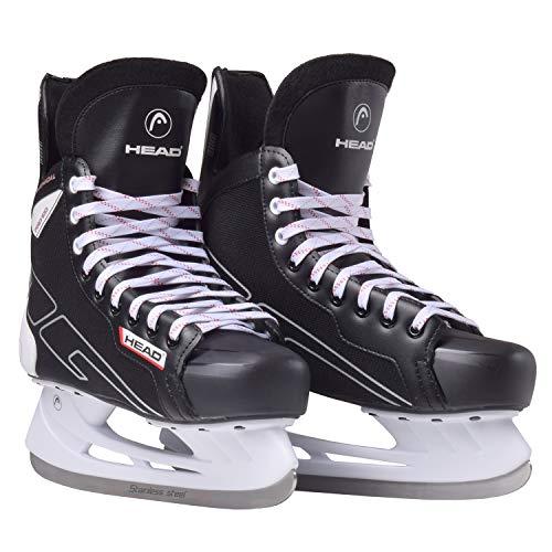 HEAD Unisex– Erwachsene Eishockey-Schlittschuh 100 I Ideal für Freizeitsspieler I Edelstahlkufen I Komfortables Laufen I leichtes Anziehen, Schwarz-Weiß, 44