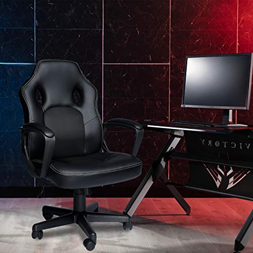 HZLAGM Office Chair PC Gaming Chair Ergonomic Computer Chair with Reclining Racing Chair with Lumbar Support Headrest for Back Pain Adults Teens Desk Chair -Mid Back+Black