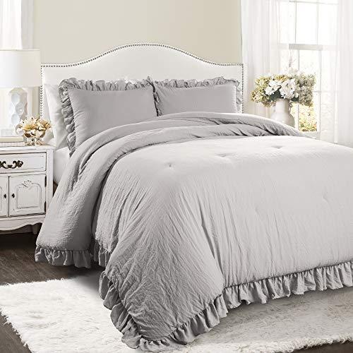 Lush Decor Light Gray Reyna Comforter Ruffled 3 Piece Set with Pillow Sham...