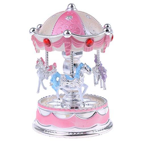 MagiDeal Boîte à Musique Manège de Chevaux en Métal Plastique Décoration Maison Enfants Jouets - # 2 Rose