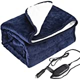 """Machine Washable Electric Car Blanket 12 Volt Heated Travel Blanket Flannel Heating Throw for Car Truck SUV Van 40x55"""" with Controller 3 Heating Level Navy Blue"""