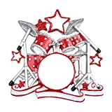 Personalized Drum Set Christmas Tree Ornament 2021 - Red Silver Glitter Percussion with Stars Concert Band Drummer Hobby Profession Teacher White Pow No Know Life Gift Year - Free Customization