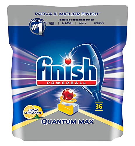 Finish Quantum Max Pastiglie, Detersivo Lavastoviglie, Limone, 36 Tabs