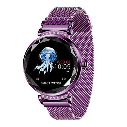 Inseguitore di fitness con orologio intelligente da donna, orologio da polso con monitor della frequenza cardiaca e schermo a colori, IP67 Waterproof Smartwatch(viola)