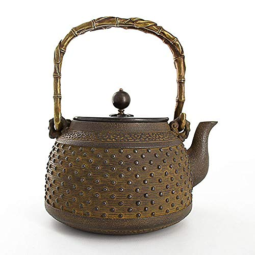 Cast Iron Teapot Japanese Style Old Iron Pot Kettle Kung Fu Teapot Iron Pot Uncoated Antique Cast Iron Pot Best Gift (Color : Cast iron, Size : 1400ml)