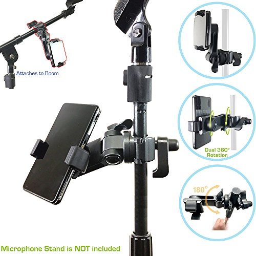AccessoryBasics Music Boom Mic Microphone Stand Smartphone Mount w/360° Swivel Adjust Holder for Apple iPhone 11 Pro XR XS MAX X SE Samsung Galaxy S20 S10 12 Phones (Zoom Video Compatible)