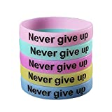 SpringPear 5x Bracelets Noctilucent avec le Slogan Never give up (Ne jamais...
