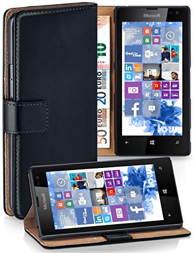 MoEx Cover a Libretto Compatibile con Nokia Lumia 520/525   Fessura Carta + Soldi, Supporto, Nero