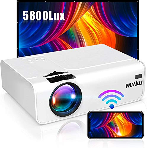 HYLL WiFi proyector 5800 lúmenes Espejo Ajuste inalámbrico portátil Mini proyector Full HD 1080p 200'proyector de Cine en casa Compatible con PC/Smartphone/Caja de la TV/DVD / PS3 / PS4