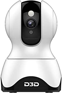 D3D Smart Cam Pan Tilt Home WiFi Camera   Wireless Indoor Security 360° 2MP 1080p (Full HD)   Up to 30 ft Night Vision   Up to 128 GB microSD Card Slot   Compatible with Alexa and Google