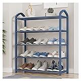 JIAQUAN-SHOP Zapatero organizador de 5 capas de pie zapatero puerta zapatero almacenamiento ahorra espacio organizador de almacenamiento de zapatos (color: azul, tamaño: 64 x 80 cm)