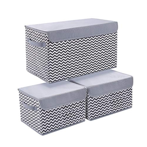 JoyoldelfStorage Bins with Lids, 3 Packs Cube Organizer Storage Bins for Closet Shelves Home Foldable Cloth Storage Cube with Reinforced Handle