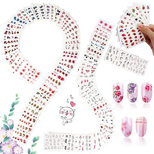 95 Blatt Blumen Nagelsticker Nail Abziehbilder Nail Art Wassertransfer Aufkleber Nagel Blumen Wasserzeichen Nagel Tattoo Nail Tattoo für Nagelschönheitsspeicher zu Hause