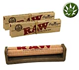 Set Raw Ecoplastic KingSize Drehmaschine 110mm aus Hanfplastik + 2 RAW Connoisseur KS Papers + Tips + Fight Ansteck-Button - Roller