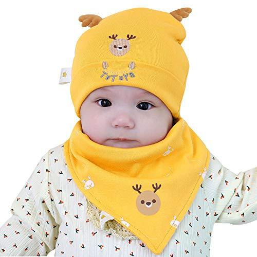 Folding Gorras de invierno, orejeras, gorro de punto, forro cálido para niños, gorro grueso para bebé, juego de 2 piezas (color: amarillo, talla: L)