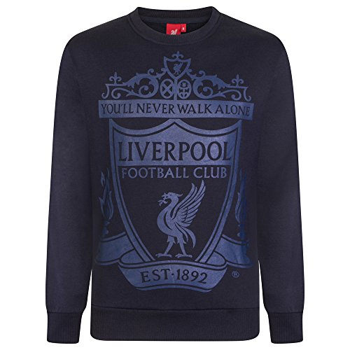 Liverpool FC - Herren Sweatshirt mit Vereinswappen - Offizielles Merchandise - Geschenk für Fußballfans - Dunkelblau - L