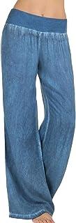 SOMTHRON Pantalones vaqueros para mujer con perneras anchas, elásticos, cintura