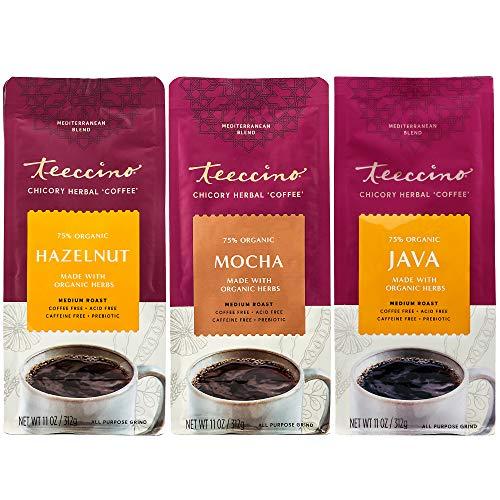Teeccino Herbal Coffee Variety Pack - Hazelnut, Mocha and Java - Ground Herbal Coffee That's Prebiotic, Caffeine-Free & Acid Free, Dark Roast, 11 Ounce (Pack of 3)