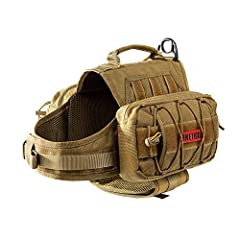 """OneTigris MAMMOTH Dog Pack: Durable 1000D nylon with mesh lining for breathability to maximize function and comfort on lengthier outings Larger Storage Room: 3L pouch with two 2"""" by 7"""" loop panels on either side for carrying water, dog food, treats, ..."""