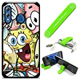 Hybrid Rugged Hard Cover Case Compatible with Galaxy [A30] [A20] - Spongebob Friends (with Free Phone Stand Gift!)