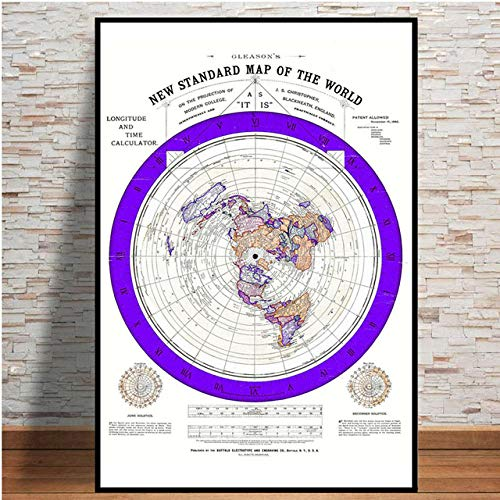 None brand Modular Canvas Pictures Flat Earth Map Poster Prints Painting Nordic Style Home Decoration Wall Art For Living Room-Rollo de Lona de 50x70 cm