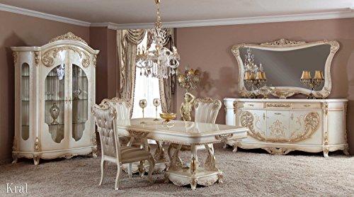 Klassisch luxuriöses Esszimmer set – KRAL LIGHT (1 Esstisch, 6 Esszimmerstühle, 1 Vitrine, 1 Schrank, 1 Spiegel). Farbkombination: Hellbraun, Silber, Gold. Classical luxury diningroom set