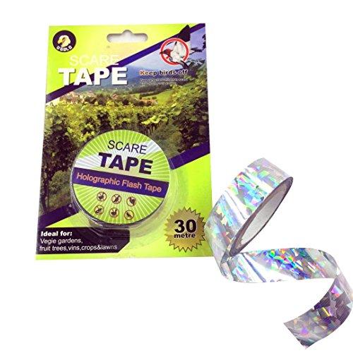 "Ugold Bird Repellent Tape Reflective Bird Scare Ribbon - 3/4"" x 100 Ft"