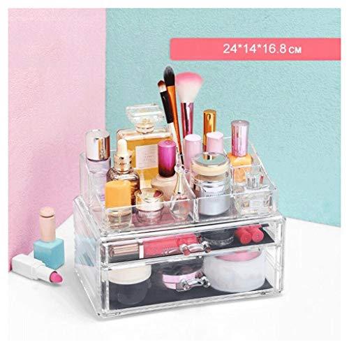 Étui de Maquillage Étui de Rangement de Maquillage Cosmetic Organizer Storage Rack de Bijoux Big Space Clear 2 Tier Porte-Brosse Multifonction Dressing Table UOMUN
