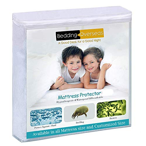 """Waterproof Mattress Protector - Fitted Sheet Style Bed Cotton Terry Mattress Cover -100% Waterproof Resistant (48""""X75"""" Size, 12 Inch Deep Pocket)"""