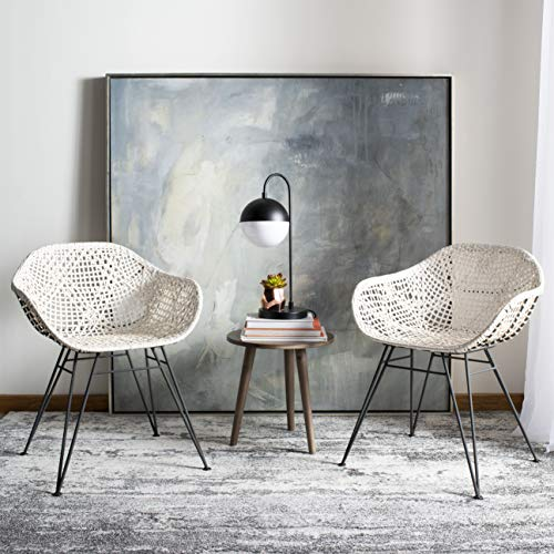 Safavieh Home Jadis White and Dark Grey Leather Woven Dining Chair, Set of 2