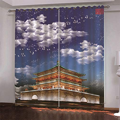 Michance Modern Blackout Curtains Creative Home Decoration Curtain Suitable For Shopping Malls, Bedrooms, Hotel Curtains 3D Printing Pattern