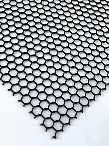 Lochblech Schwarz RAL 9005 Stahl Verzinkt Pulverbeschichtet HV 6-6,8 Hexagonal 1,5mm dick magnetisch Neu (500 mm x 300 mm)