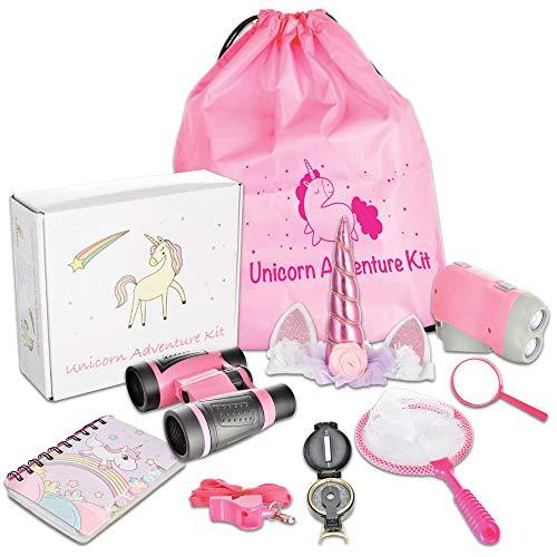 Littolo - Kids Adventure Kit- Unicorn Gifts for Girls- Unicorn Headband, Unicorn Backpack, Binoculars, Flashlight, Compass & More. Free Activity Book. Kids Outdoor Toys, STEM Toy, Pretend Play.