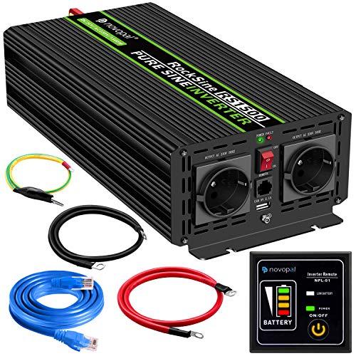 novopal® Spannungswandler 24V auf 230V 1500W/3000W Reiner Sinus Wechselrichter Konverter mit Zwei AC-steckdosen mit Fernbedienung und 2.4A USB