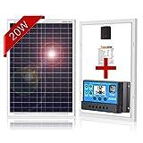 DOKIO 20W Polycrystalline Solar Panel with REGULADOR for 12volt Battery Charging, Boat, Caravan, RV (Portable)