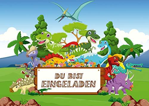 10 Dinosaurier-Einladungen zum Kindergeburtstag für Mädchen und Jungen: 10-er Set Einladungskarten zum Kinder-Geburtstag oder ins Museum (11049)