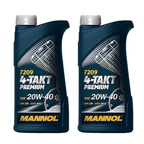 MANNOL 2 x 1L 7209 4-Takt Premium/SAE 20W-40 JASO MA2 API SM Motorradöl Mineral