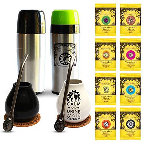 Mate Green Ein Set für zwei zum Trinken von Mate-Tee Zwei Becher mit einer Kapazität, gereift | luftgetrocknet | rauchfrei | plastikfrei | fair | Matetee aus Mateblättern | bequem zu bedienen