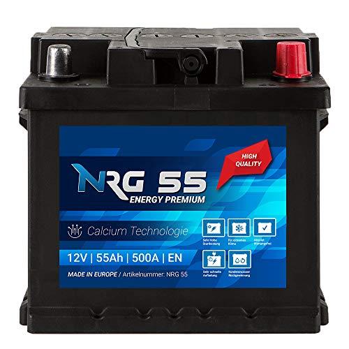 NRG Premium Autobatterie 12V 55Ah 500A/EN Batterie ersetzt 45Ah 47Ah 50Ah 52Ah 53Ah 54Ah
