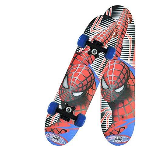 CN Skateboard Vierrädrige Skateboard Kinder Und Jugendliche Baby Universal Scooter Medium Ahorn Holz Doppel Rocker,Spider Man,1