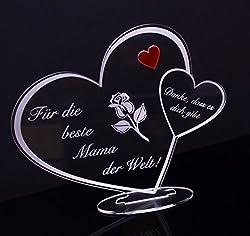 """Acryl Schild in Herz Form """"Für die beste Mama der Welt"""" Perfekt zu Muttertag oder Weihnachten, mit Lasergravur, Geschenk, 205 mm x 170 mm (Für die beste Mama der Welt!)"""