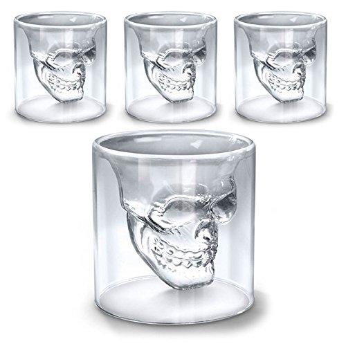 SHOP-STORY - Lot de 4 Verres Tête de Mort - Shooters pour Liqueur Whisky Vodka etc