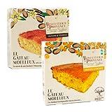 Biscuiterie de Provence Pastel orgánico de almendras y naranja + Pastel de almendras y vainilla Sin gluten ni conservantes - 1 x 225 gramos + 1 x 240 gramos