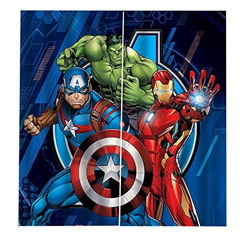 Fgolphd Fgolphd Avengers Cortinas opacas con ojales para dormitorio, Capitán América Iron Man, juego de 2 cortinas para habitación infantil (100 × 140 × 3)