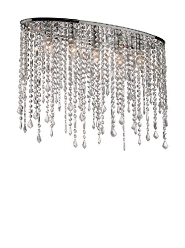 Ideal Lux RAIN PL5 Indoor E14 Chrome – Ceiling Lighting (Bedroom, Children 's Room, Dining Room, Living Room, Chrome, IP20, Surfaced, Round, Glass, Metal)