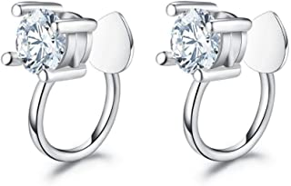 Fashion Cubic Zirconia 925 Sterling Silver Clip On Earrings Cuff Wrap for Non Pierced Ears Women Teen Girls Cartilage Sparkly (one pair)