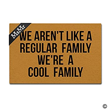 MsMr Funny Doormat Entrance Door Mat We Aren't Like A Regular Family We're A Cool Family Floor Mat Indoor Outdoor Decorative Rubber Doormat Machine Washable 23.6 by 15.7 Inch
