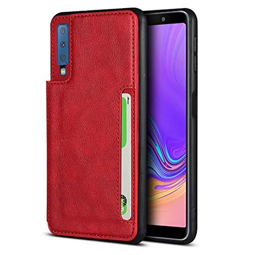 Brieftasche Handyhülle für Samsung Galaxy A7 2018 (Rot)