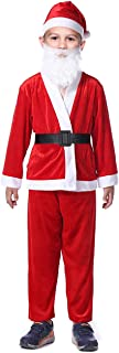 Child Santa Claus Suit Christmas Costumes Outfits with Santa Hat Beard 5 Piece Set for Boys Aged 6-9 Years, Red