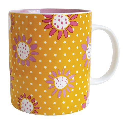 laroom 14113 – Tasse Fleurs, Couleur Jaune